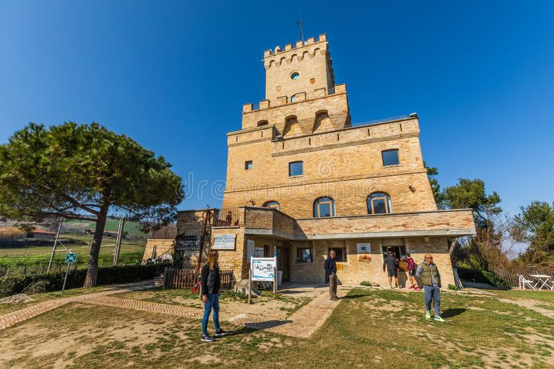 Ancient Tower of Cerrano in Italy. Construction of the sixteenth century. Teramo, Italy. March 3, 2019: Ancient Tower of Cerrano in Italy. The Tower of Cerrano royalty free stock photo