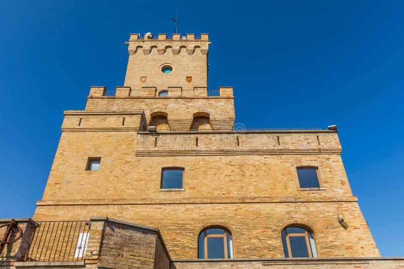 Ancient Tower of Cerrano in Italy. Construction of the sixteenth century. Teramo, Italy. March 3, 2019: Ancient Tower of Cerrano in Italy. The Tower of Cerrano stock images