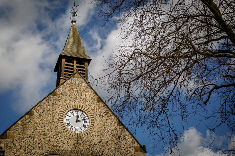 An ancient tower of a church in Bury St Edmunds stock photo