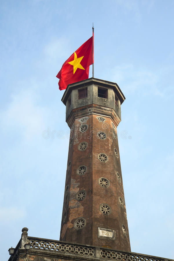 Ancient tower of the fortress with the Vietnamese flag. Hanoi royalty free stock photos