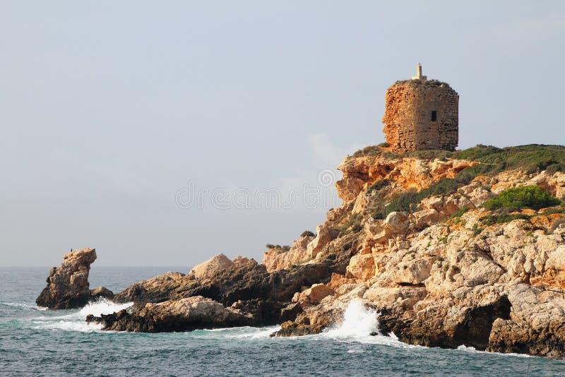 Ancient tower on island. Illetes, Palma-de-Majorca, Spain royalty free stock image