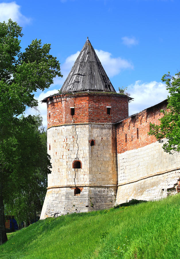 Ancient tower. Ancient wall tower of the medieval fortress - Kremlin in Zaraysk, Moscow region royalty free stock photography