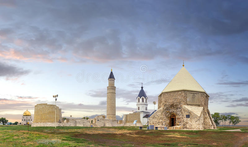 The ancient town Bolgar or Bulgar. Kazan, Tatarstan, Russia. The ancient town Bolgar or Bulgar at sunset. Kazan, Tatarstan, Russia royalty free stock photography