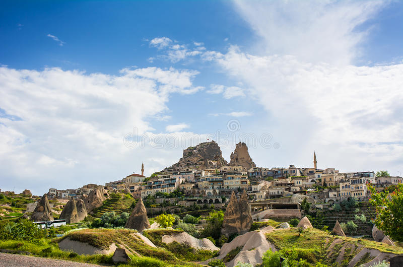 Ancient town and a castle of Uchisar, Cappadocia, Turkey stock photos