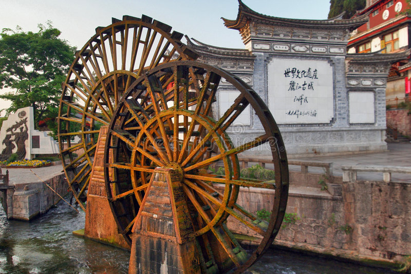 The ancient town of Lijiang water tankers stock photography