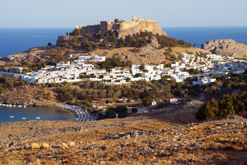 Ancient town Lindos and sheeps. Rhodes. Greece stock photography