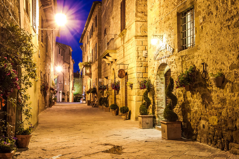 Ancient town of Pienza in Italy. At night royalty free stock photography