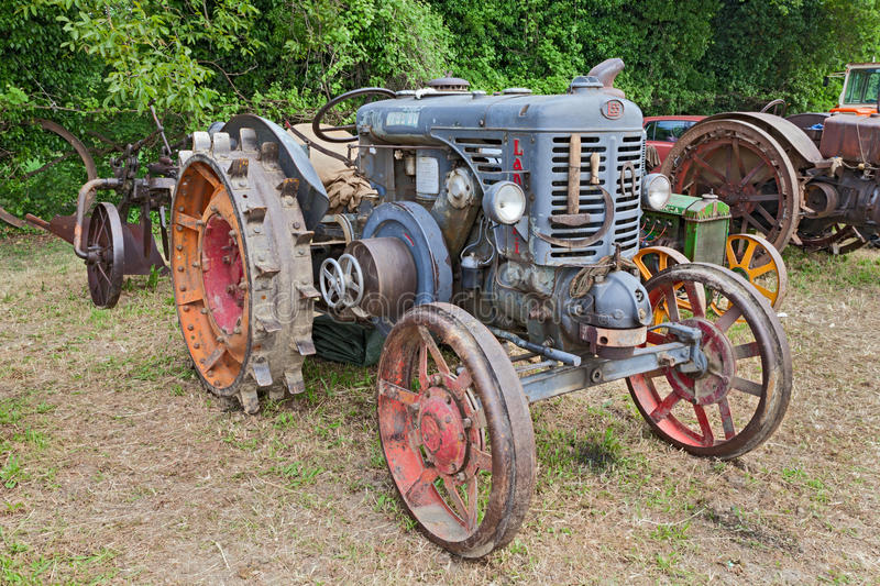 Ancient tractor Landini L55 hot bulb engine royalty free stock photo