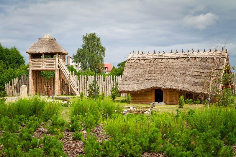 Ancient trading faktory village in Pruszcz Gdanski stock photography
