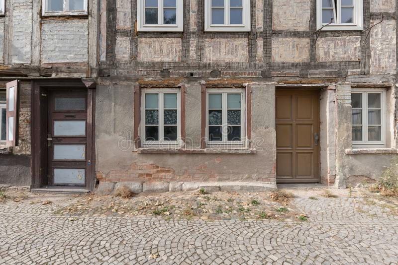 Ancient Traditional Buildings, Old Wood House and Windows in a Sunny Day, Quedlinburg, Germany stock photo