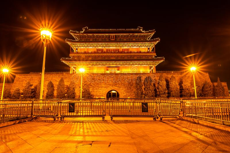 The ancient traditional Chinese Arrow Tower in the night, as known as Archery tower, or Jian Lou in Chinese located at Zhengyangme. N or Qianmen  in Beijing stock photos