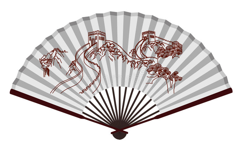 ancient traditional chinese fan with the great wall stock vector