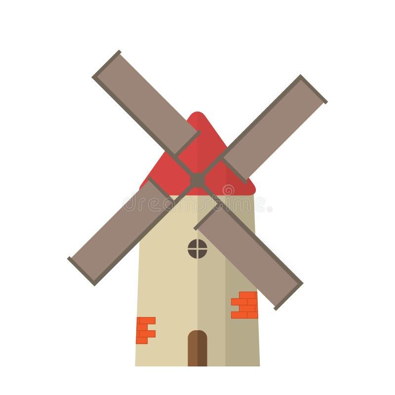 Ancient traditional rural windmilll  farm power ecology. Wind mill flat vector illustration stock illustration