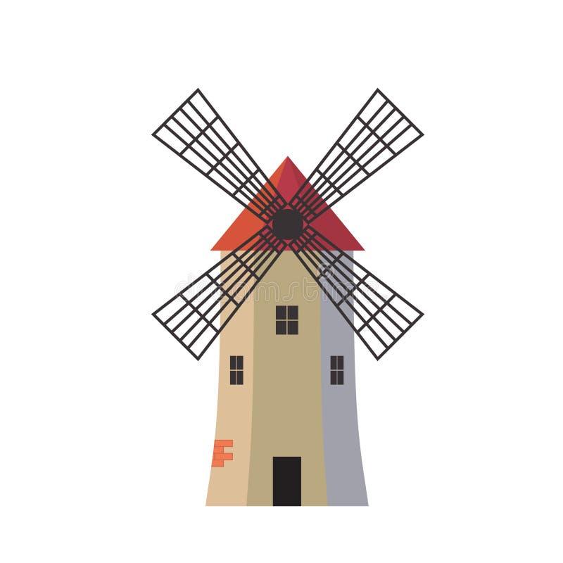 Ancient traditional rural windmilll  farm power ecology. Wind mill flat vector illustration vector illustration