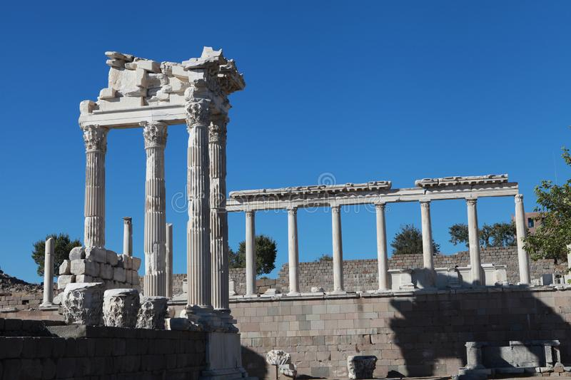 Ancient Traian Temple in Pergamon royalty free stock image