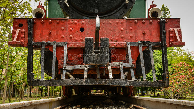 head of ancient train that are parked in the park, to study closely, Yangon, Myanmar, April-2017 stock photography