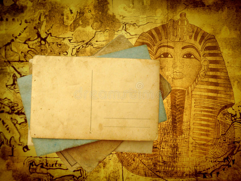 Ancient travel background with postcards vector illustration