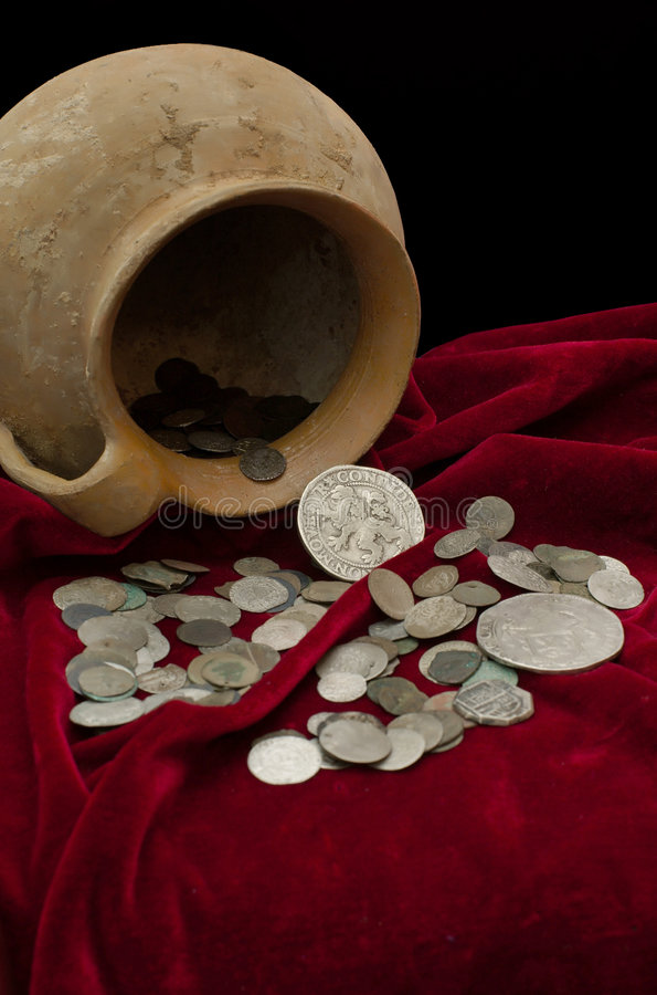 Ancient treasure of coins stock photography