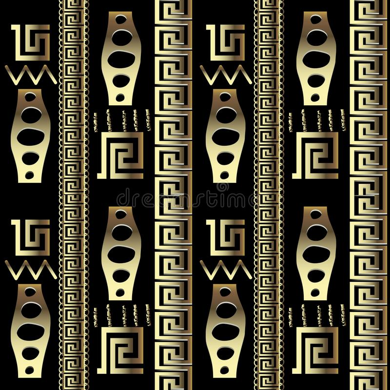 Ancient tribal ethnic style ornate gold 3d greek seamless pattern. Striped geometric shapes and borders background. Repeat. Ornamental old backdrop. Stripes royalty free illustration