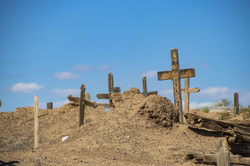 Ancient tribal graveyard at New Mexico pueblo where indigenous peoples still live and perform ceremonies.  royalty free stock photos
