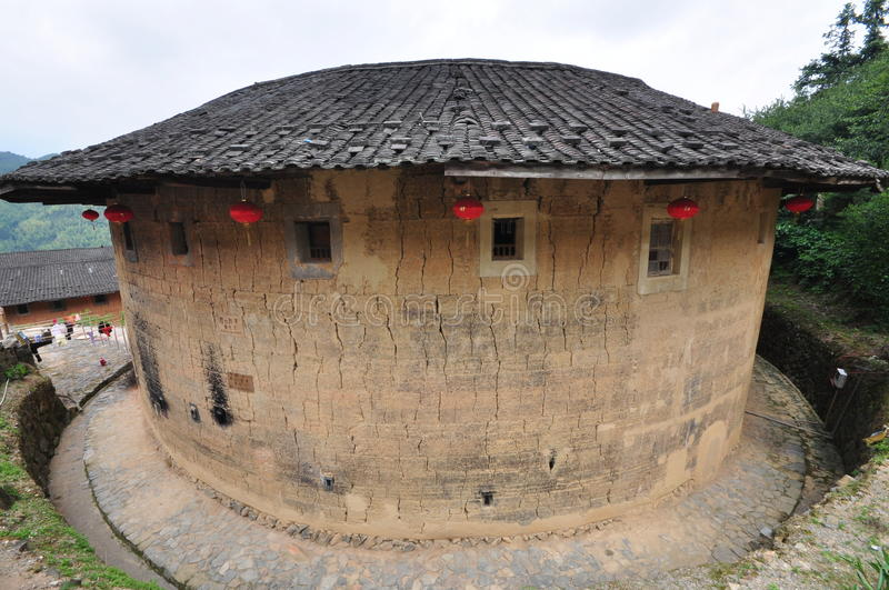 Ancient Tulou Upfront Perspective. UN World Heritage Site at Yongding, Fujian Province China. Tulou - literally - mudhouses. Rediscovered just several decades stock photo