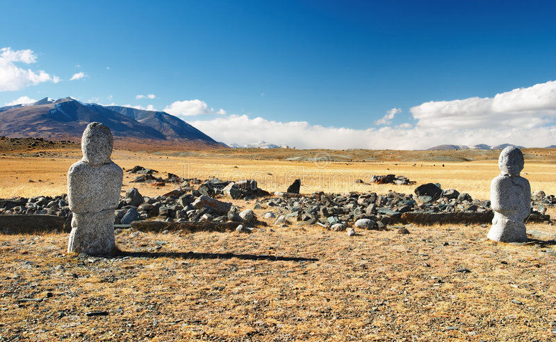 Ancient turkic monuments. In mongolian desert stock image
