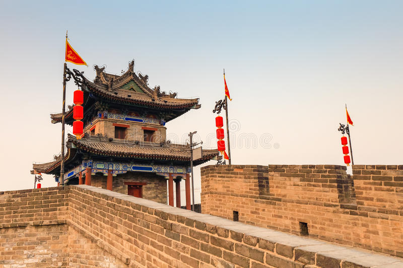 Ancient turret on xian city wall. Ancient turret closeup, xian city wall at dusk,China stock images
