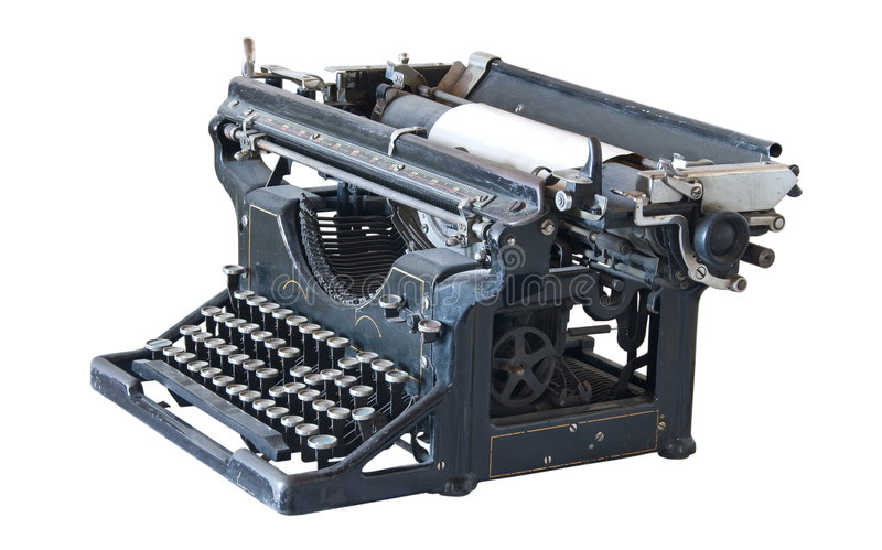 Ancient typewriter. Ancient mechanical Underwood typewriter.The end of 19-th century royalty free stock photo