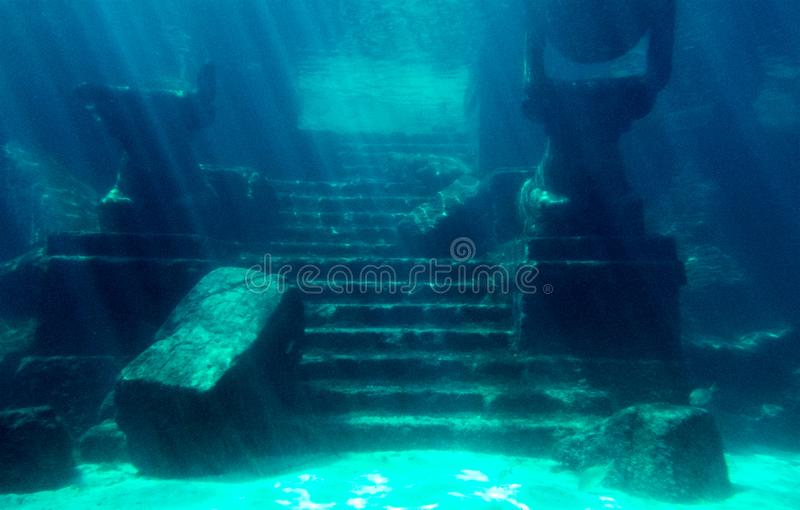 Ancient underwater ruins with broken pieces royalty free stock photos
