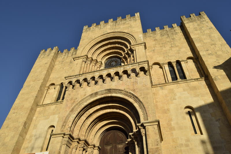 Ancient university city of Coimbra Portugal. The Se Velha cathedral in the ancient university city of Coimbra Portugal royalty free stock photography