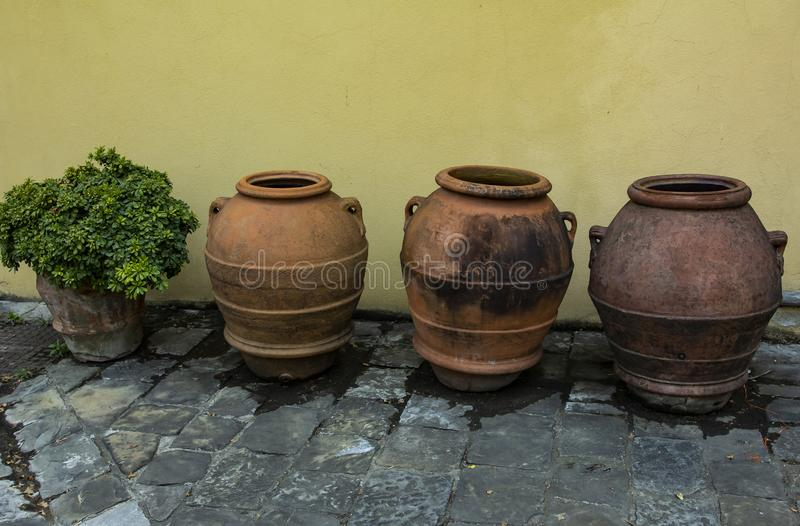 Ancient vase. Antique very beautiful. Very old clay vases from Europe. stock photography
