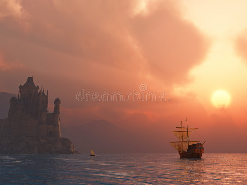 Ancient Vessel At Sunrise Stock Images