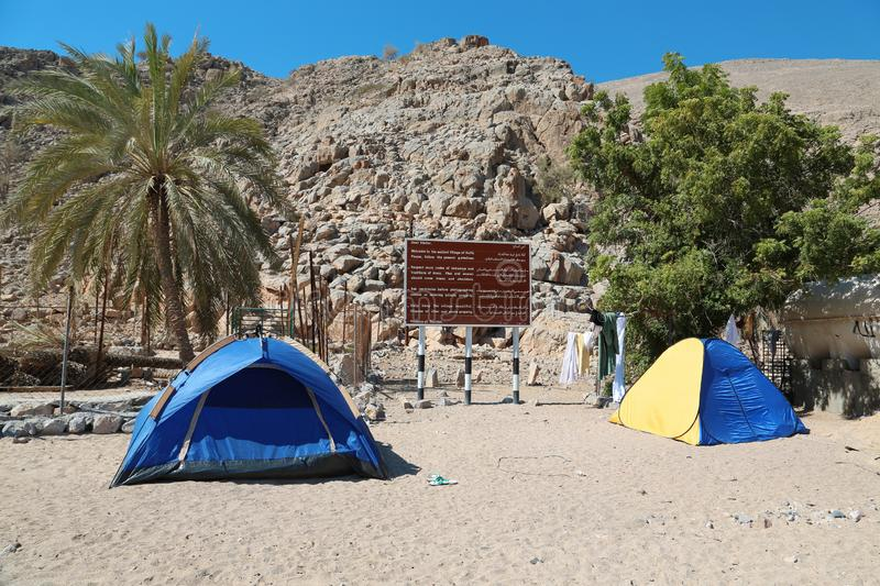 Ancient Village of Haffa, Sultanate of Oman, Musandam peninsula, Gulf of Oman. OMAN, MUSANDAM PENINSULA, GULF OF OMAN, FEBRUARY 2, 2016: Tents in ancient Village royalty free stock image