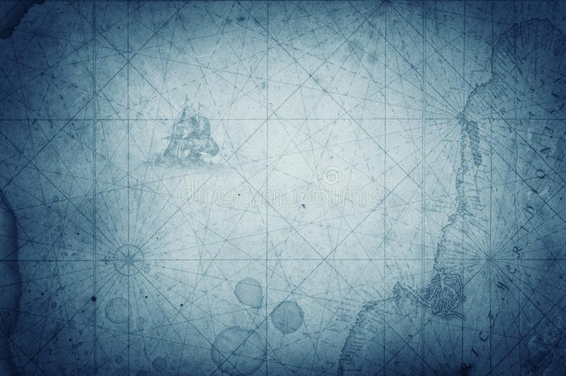 Ancient vintage blue map background. Retro style. royalty free stock image
