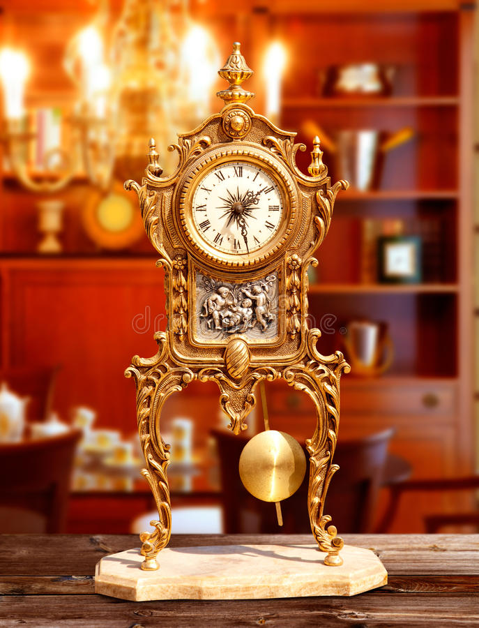 Download Ancient Vintage Brass Pendulum Clock Stock Photo - Image: 21386930
