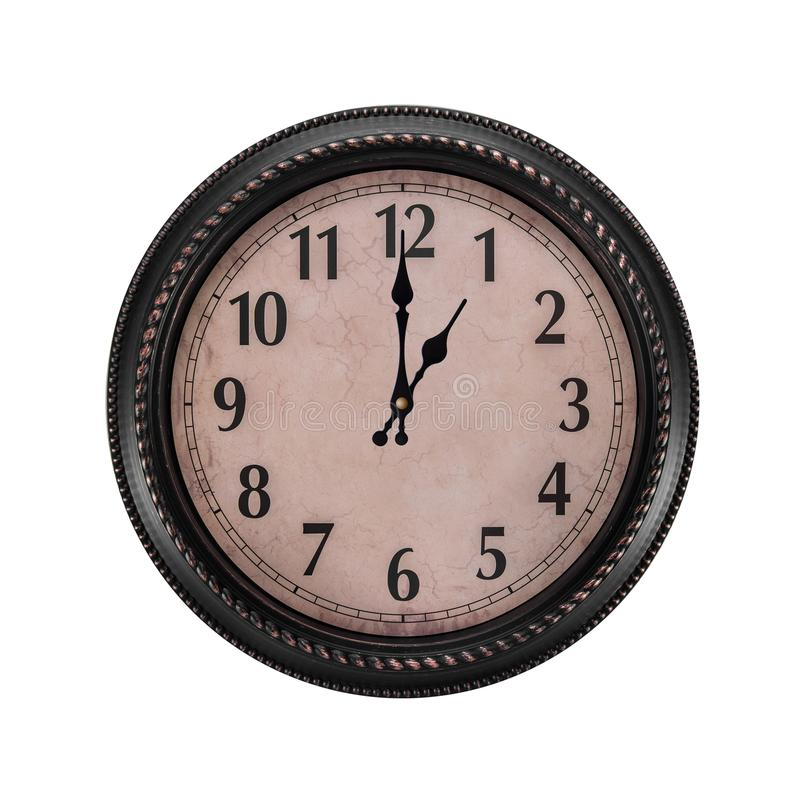 Ancient wall clock on a white background. Hour of the day or one o`clock in the morning royalty free stock photo