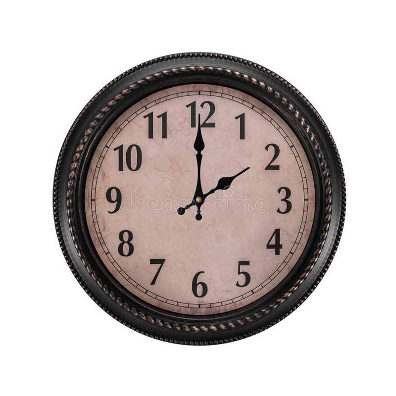 Ancient wall clock on a white background. Two o`clock in the afternoon or two in the morning on the clock stock photo