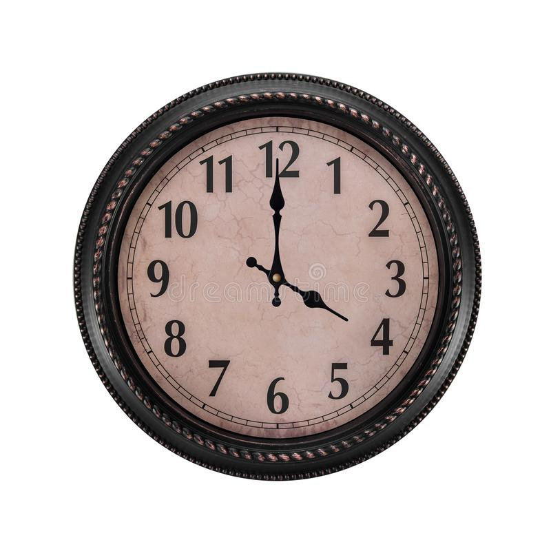 Ancient wall clock on a white background. Four o`clock in the afternoon or four in the morning on an hour royalty free stock photos