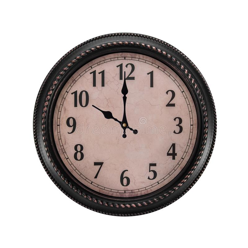 Ancient wall clock on a white background. It`s ten o`clock in the morning or evening stock photos