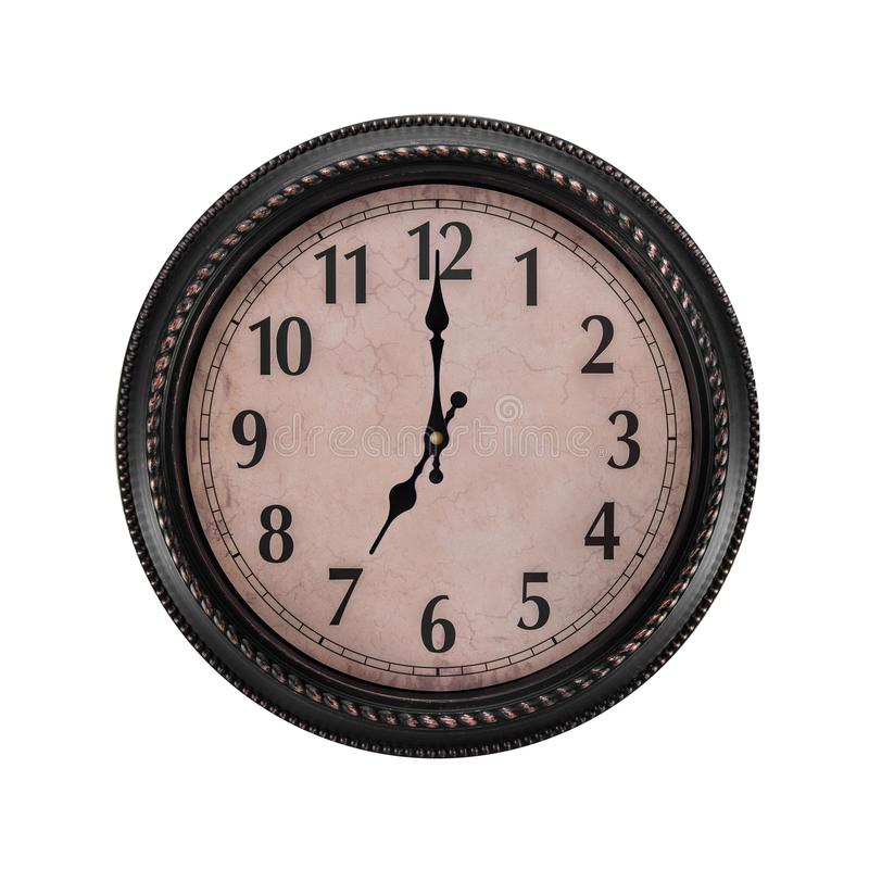 Ancient wall clock on a white background. At seven in the morning hours or in the evening stock photo