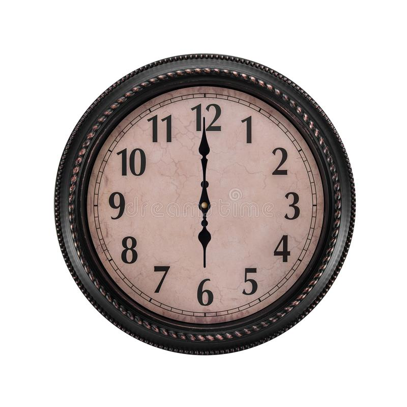 Ancient wall clock on a white background. Six o`clock in the morning or evening stock photography