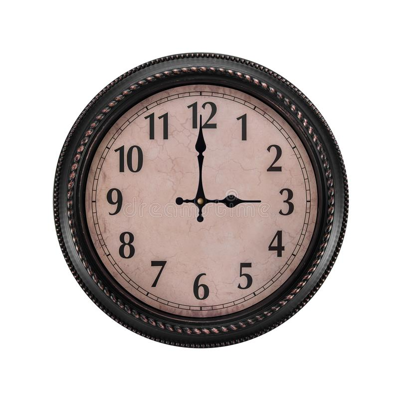 Ancient wall clock on a white background. Three o`clock in the afternoon or three in the morning on the clock stock photos