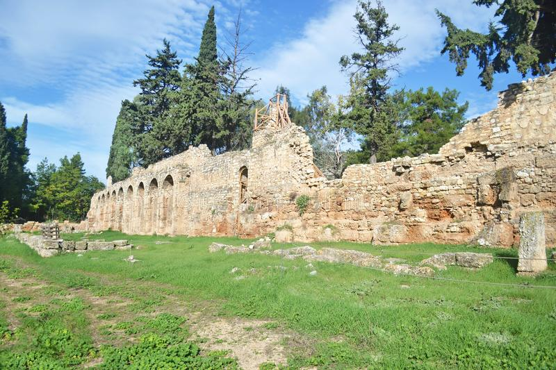 The ancient wall of Daphni Monastery Athens Greece royalty free stock images
