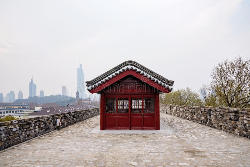 Ancient wall in Nanjing. Nanjing ancient city wall in foggy weather royalty free stock photography