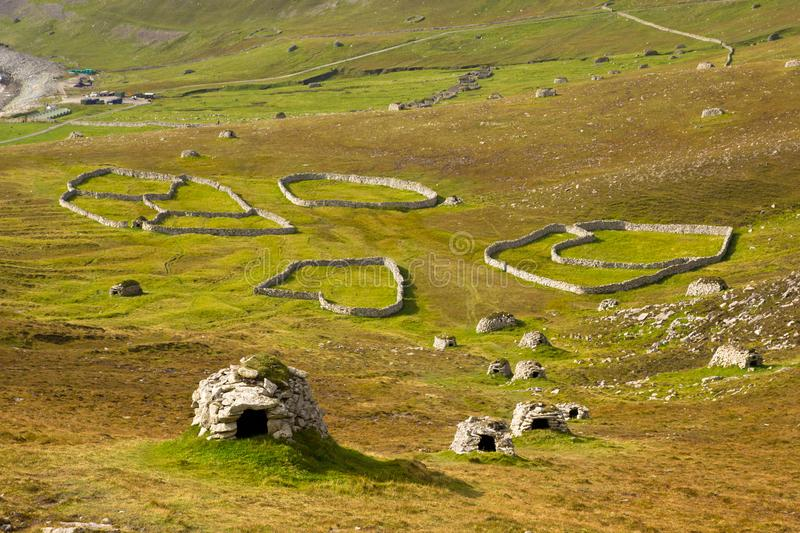 Cleits at St Kilda, Outer Hebrides, Scotland. Ancient wall structures and shelters i.e.; ` cleits` at the remote archipelago of St Kilda, Outer Hebrides royalty free stock images