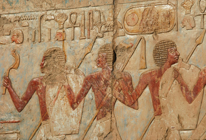 Ancient walls. Ancient wall in the palace of Hatshepsut stock photography