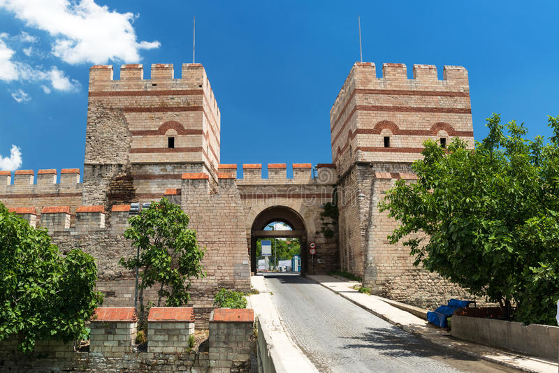 The ancient walls of Constantinople in Istanbul, Turkey stock image