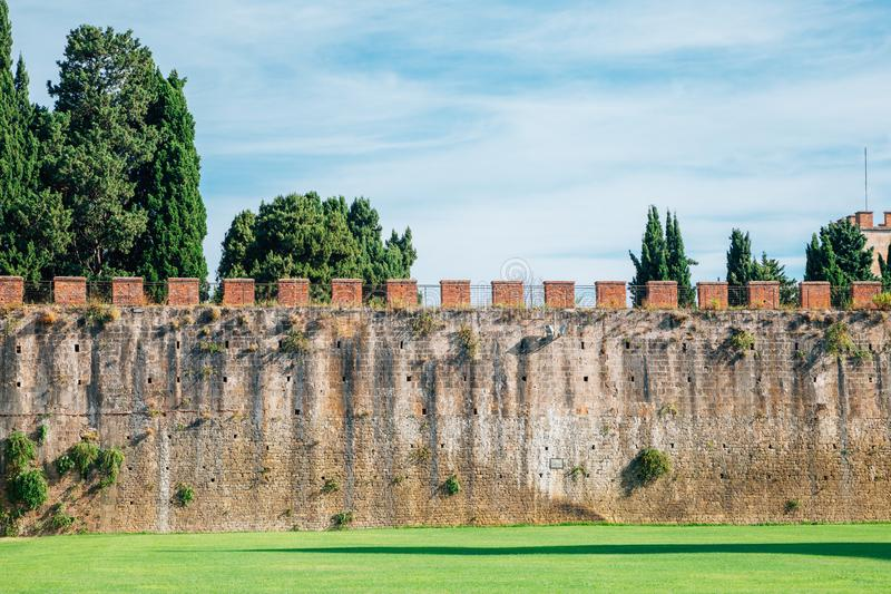 Ancient Walls, Leaning Tower in Pisa, Italy royalty free stock image