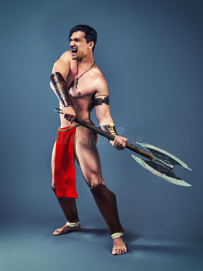 Ancient warrior with an axe royalty free stock photos