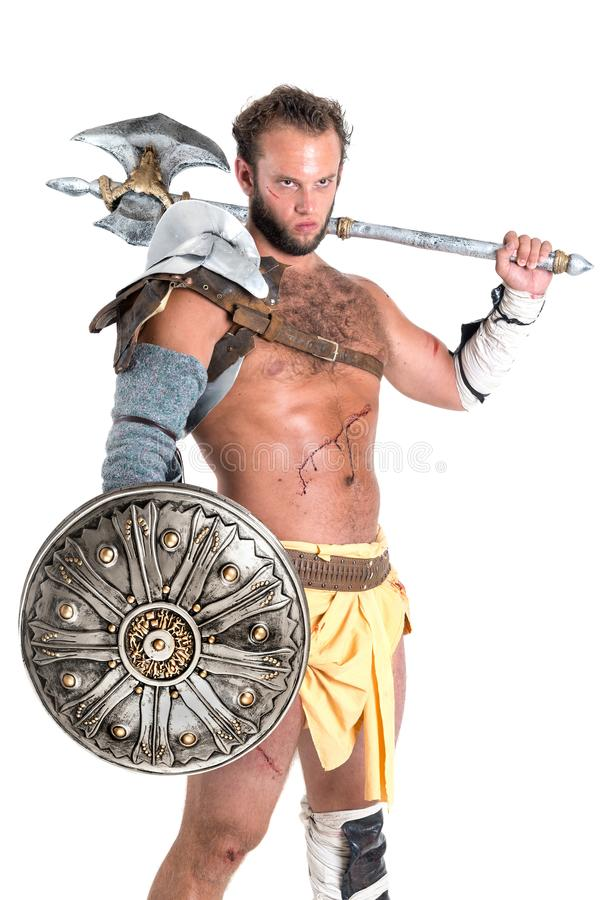 Ancient gladiator/Warrior isolated royalty free stock photo